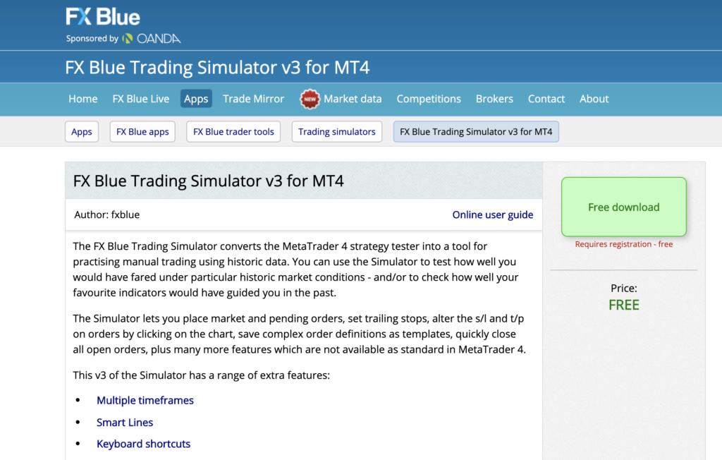 FX Blue Trading Simulator V3 for MT4